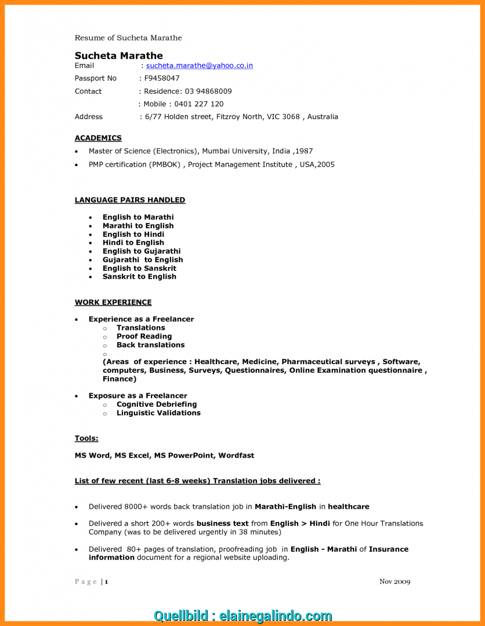 Curriculum Vitae Science Examples Sample For English