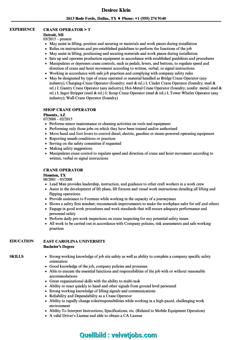 Neueste Download Crane Operator Resume Sample As Image File, Curriculum Vitae Groß Oder Klein
