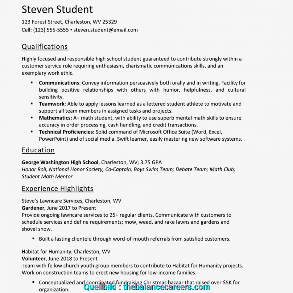 Akzeptabel Screenshot Of An Example Of A Resume, A High School Student, Curriculum Vitae High School Student