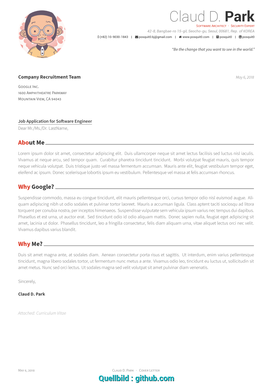 Trending GitHub, Posquit0/Awesome-CV: Awesome CV Is LaTeX Template For, Curriculum Vitae Latex