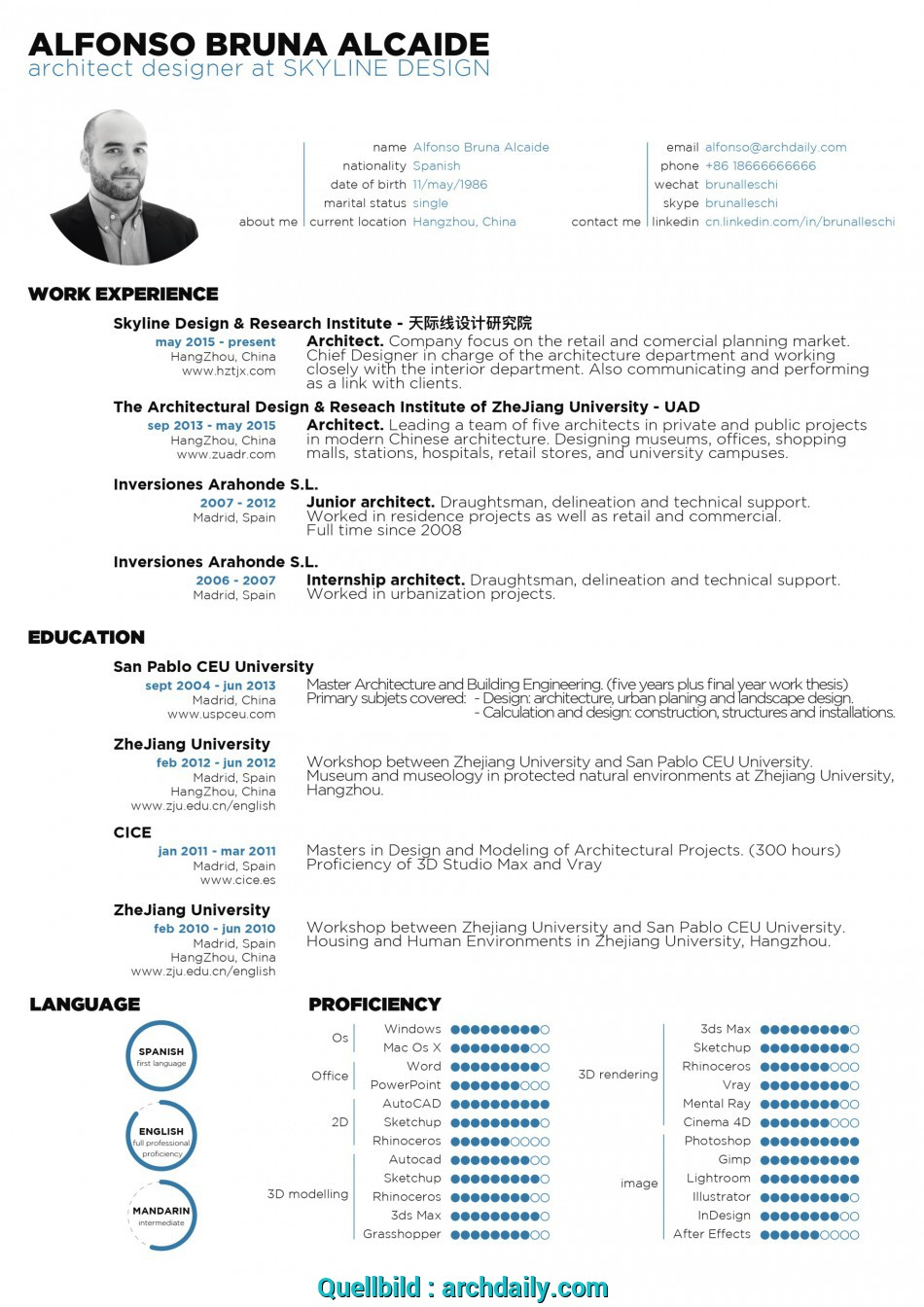 Positiv The Architecture Resume CV Designs ArchDaily Cv English Example Architect