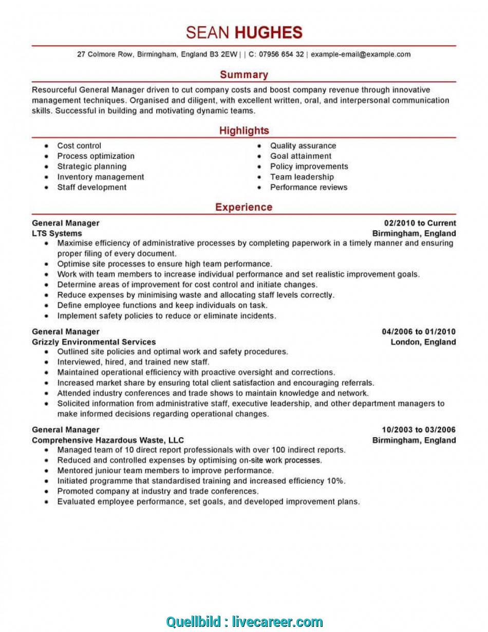 Neueste Best General Manager Resume Example, LiveCareer, Cv In English Example General Manager