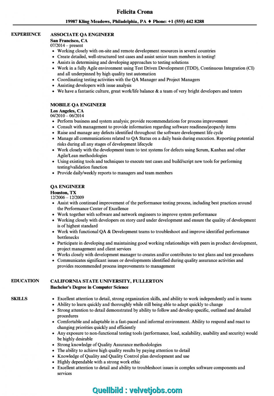 Neueste Download QA Engineer Resume Sample As Image File, Cv Template Qa Engineer