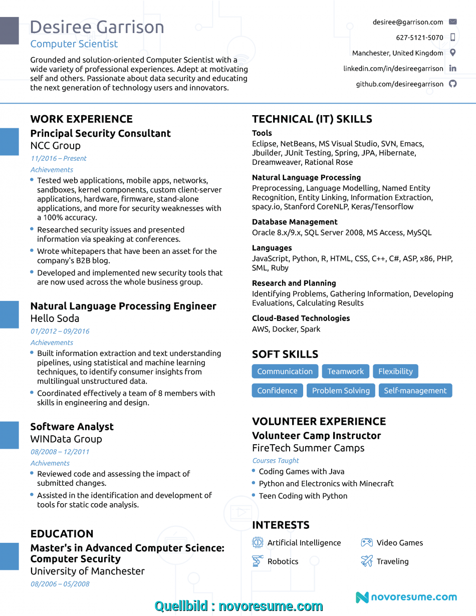 Neueste Computer Science Resume 2019 Guide Examples English Cv