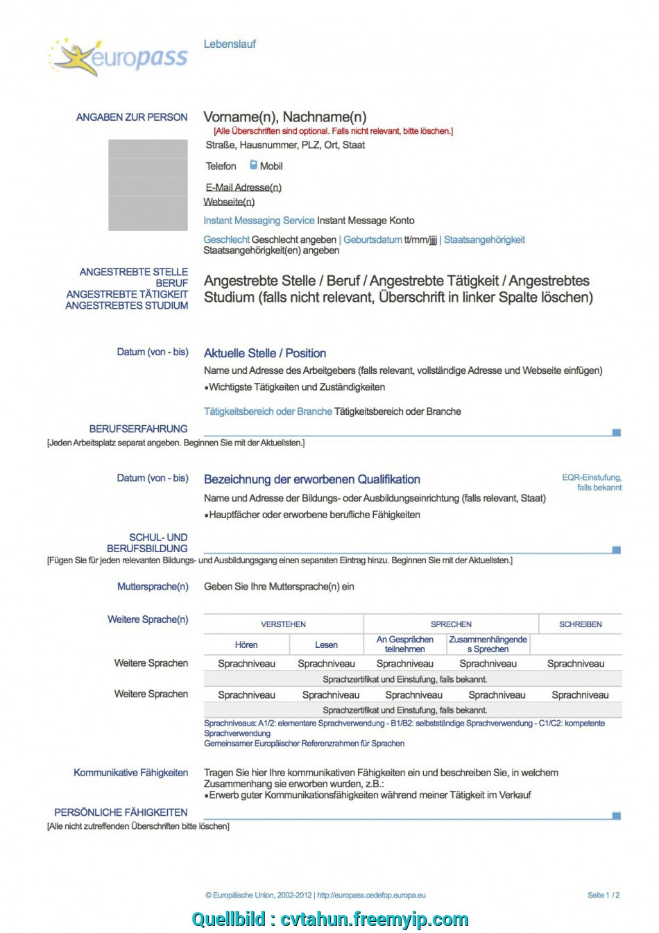 Einfach Europass Cv Download Deutsch, Resume, Bca Students, Europass Download Deutsch