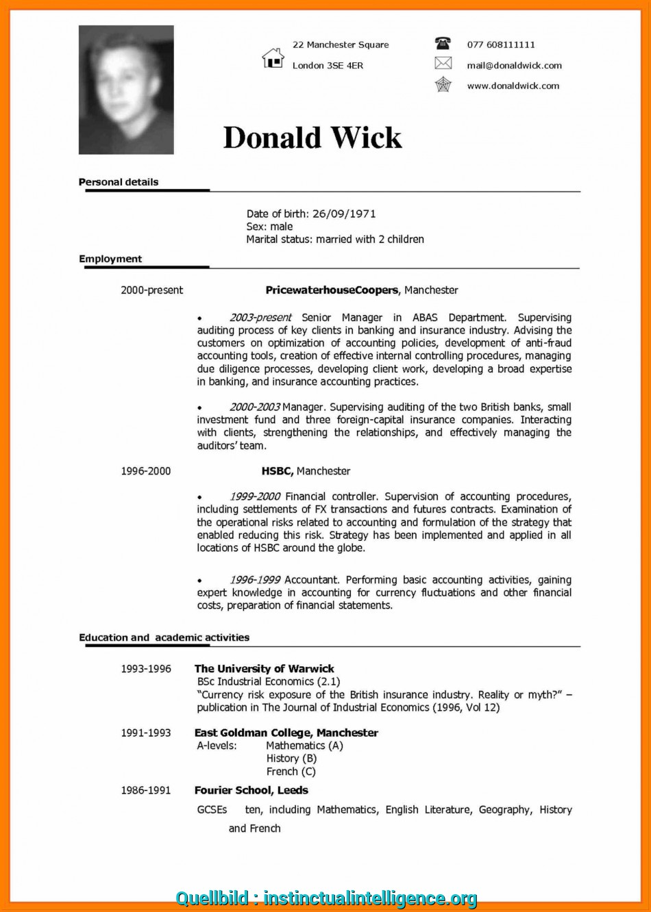 Original In English Vitae Geocvcco Cv Form Download Resume Examples To For Example 1Jpg