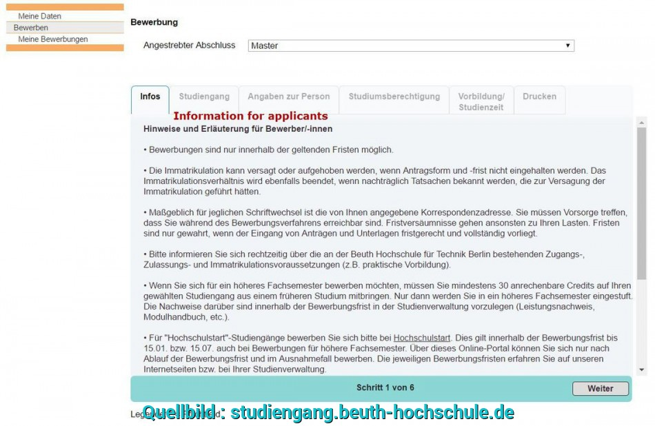 Detail ..., Signed Online Application, Has To Be Sent (Together With, Documents Listed Above) To UNI-ASSIST, Explained Above), Hochschulstart Bewerbung Löschen