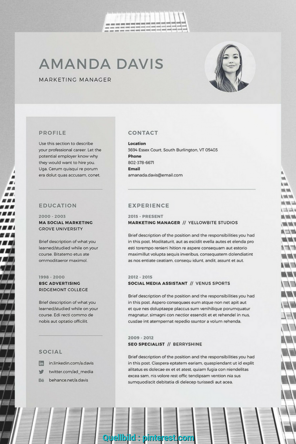 Kostbar Amanda 3 Page Resume CV Template Word Photoshop InDesign Professional Design Cover Letter Instant Download