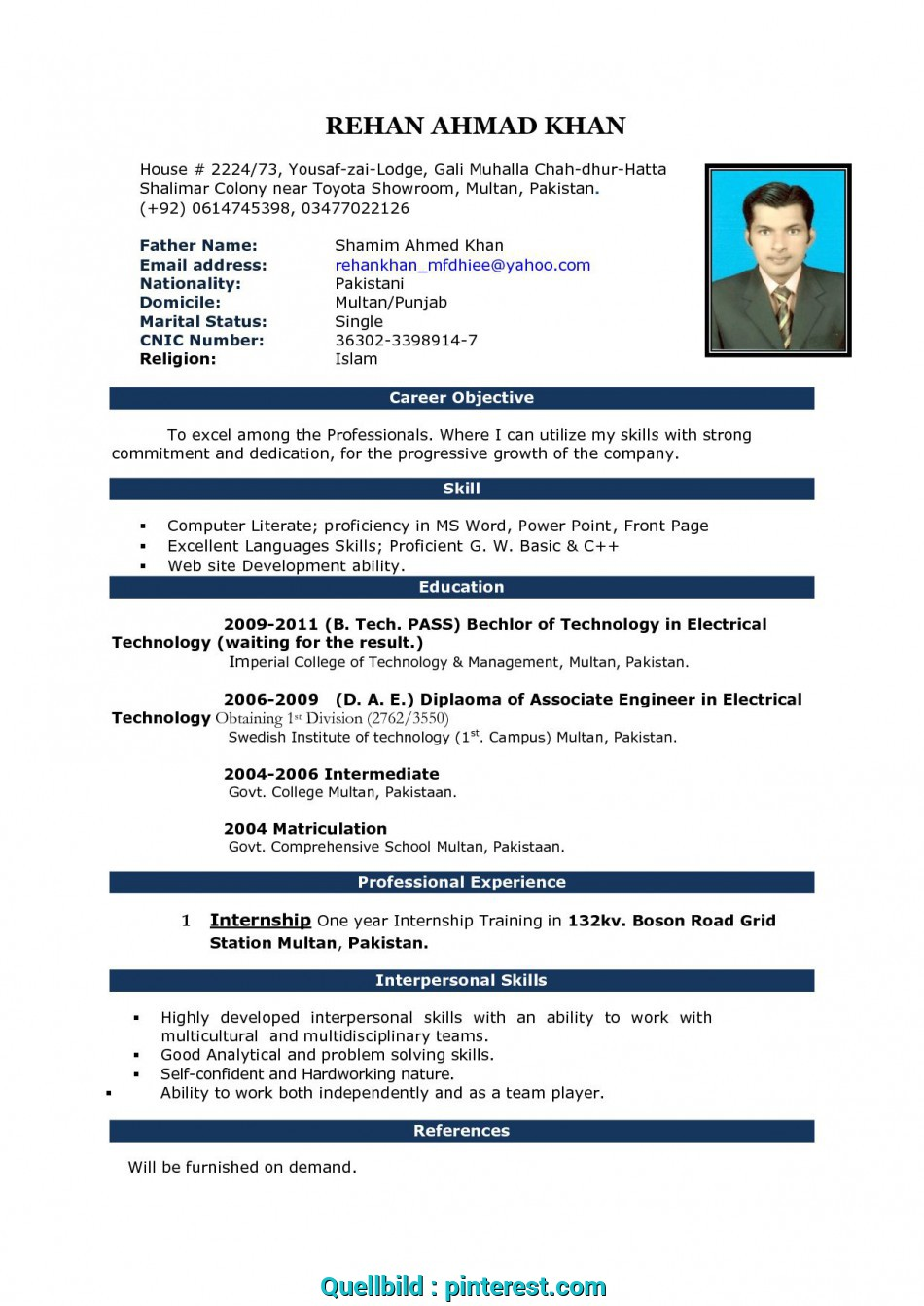 Neu Free Download Cv Format In Ms Word Fieldstationco ...