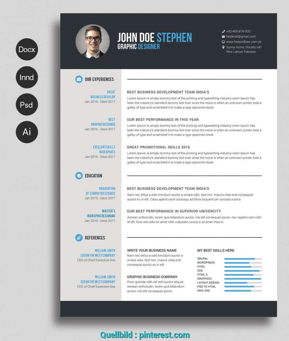 Original Free MsWord Resume CV Template Collateral Design Lebenslauf Word