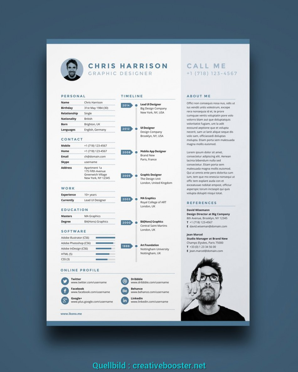 Oben Free Resume Template In Photoshop PSD Illustrator AI