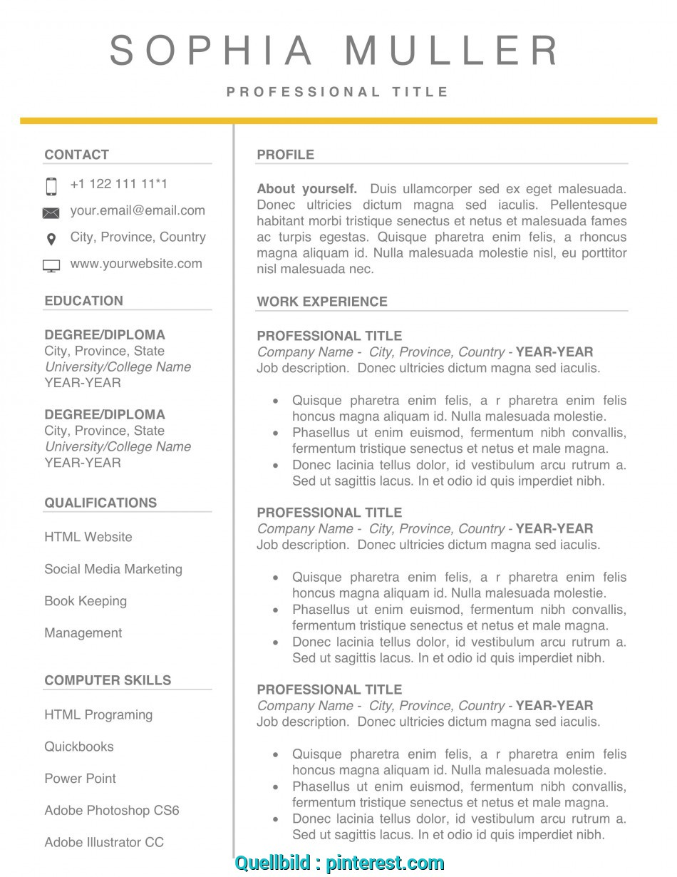 Beste Resume Template CV Word Simple Modern Professional ...