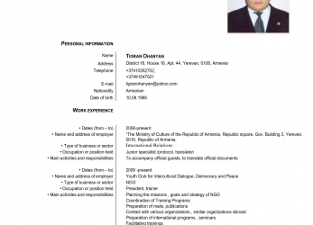 Gut Europass Cv English Example, Cv Examples Europass English Cv Template, Curriculum Vitae English 2016