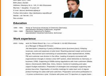Positiv Format Cv English.German Cv Template, 2016 Curriculum Vitae, Curriculum Vitae English Doc