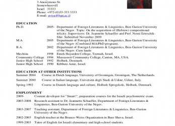 Großartig Academic CV Example, Curriculum Vitae English Example University