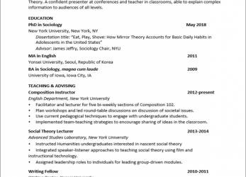 Detail Sample Graduate CV, Academic, Research Positions :: Wordvice ::, Curriculum Vitae English Personal Statement