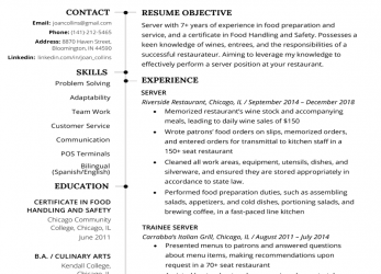 Kreativ Server Resume Example & Writing Tips, Resume Genius, Curriculum Vitae English Restaurant