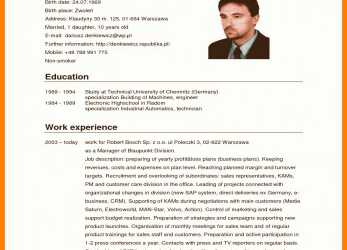 Neu Curriculum Vitae English Sample Resume Template Germany German Cv, Curriculum Vitae English Word