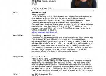 Positiv Emma Richards English CV 2015, Curriculum Vitae Europass English Example Word