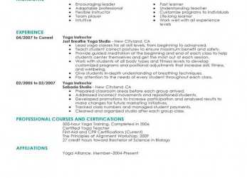 Akzeptabel Best Yoga Instructor Resume Example, LiveCareer, Curriculum Vitae Yoga Teacher