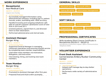 Primär Receptionist Resume [2019], Guide, Examples, Cv English Example Receptionist