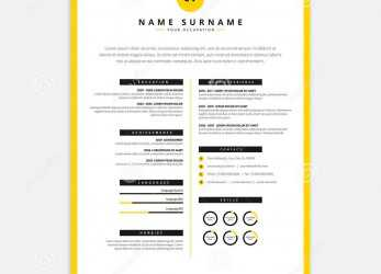 Neu Yellow Black CV Resume Template, Curriculum Vitae Sample Stock, Cv Template Yellow