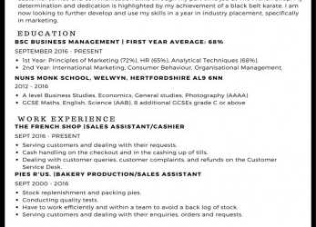 Oben CV Example, StudentJob UK, English Cv Example, Student