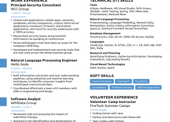 Neueste Computer Science Resume [2019], Guide & Examples, English Cv Sample Computer Skills