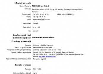 Primär Curriculum Vitae Romana Model European Luxury Pletat In Financial Cv In Romana, Formular Cv Europass English