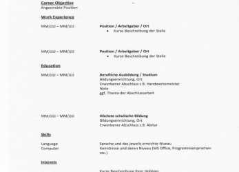 Original 14+ Cv Deutsch Muster, Rigarda, Lebenslauf Englisch Career Objective