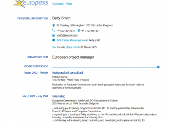 Einfach EXAMPLE DOWNLOAD EXAMPLE CV, Lebenslauf Europass Online