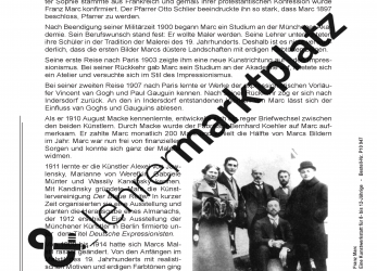 Prämie Franz Marc Eine Kunstwerkstatt Für 8-, 12-Jährige, Lebenslauf Franz Marc Grundschule