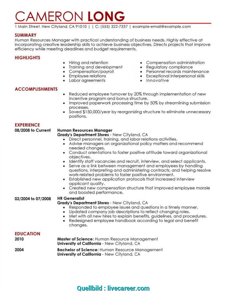 Kostbar Best Human Resources Manager Resume Example, LiveCareer, Curriculum Vitae English Hr Manager