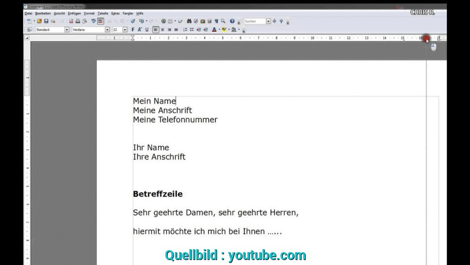 Neu Einstieg In Open Office Writer (Bewerbung), Open Office Bewerbung Youtube