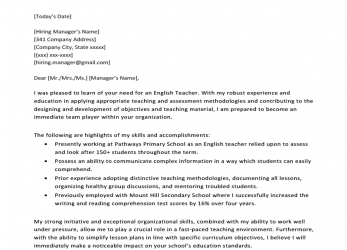 Liebling Middle School English Teacher Cover Letter Example Template, Cv English Example Cover Letter