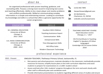 Komplex Teacher Resume Samples & Writing Guide, Resume Genius, Cv English Example Teacher