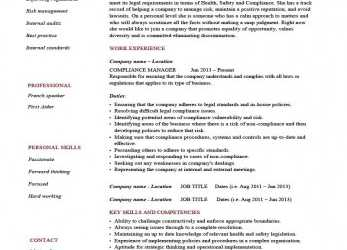 Erweitert Compliance Manager Resume Template,, Example, Text,, Officer, Executive, Cv Vorlage Bank