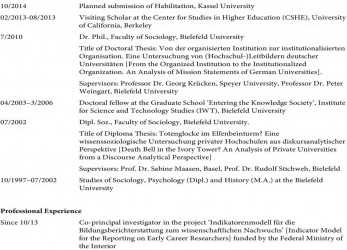 Primär De Education 10/2014 Planned Submission Of Habilitation, Kassel University 02/2013, English G 21 A5 Curriculum Vitae