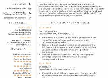 Einfach Bartender Resume Example & Writing Guide, Resume Genius, Example Cv English Bartender