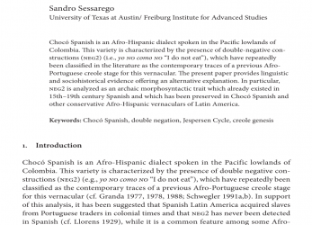 Kostbar (PDF) Chocó Spanish Double Negation, The Genesis Of, Afro-Hispanic Dialects Of, Americas, Genesis American Sa De Cv