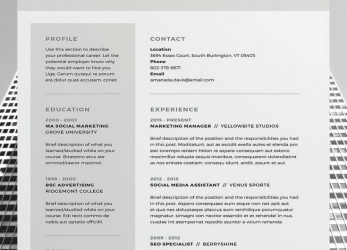 Kostbar Amanda 3 Page Resume/CV Template, Word, Photoshop, InDesign, Professional Resume Design, Cover Letter, Instant Download, Professional CV Template, Lebenslauf Design Word Download